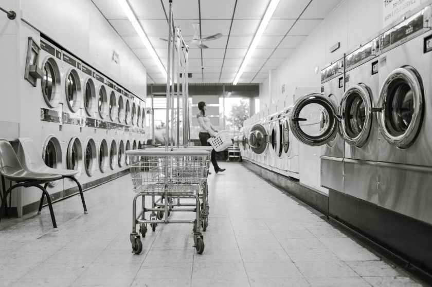 black and white clean housework launderette