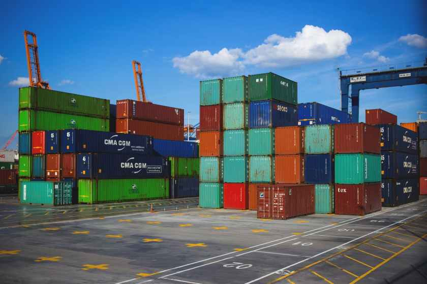 steel container on container dock